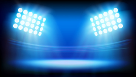 Spotlights illuminating the stage in a large stadium. Sport event. Vector illustration.