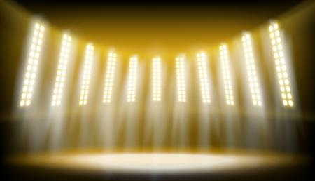 Illuminated stage on the stadium. Yellow spotlights on the dark background. Vector illustration. Ilustracja