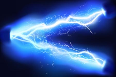 Eclairage chauffant. Haute tension. Énergie de décharge électrique. Illustration vectorielle.