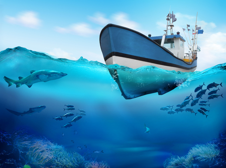 Fishing boat in the ocean. Underwater view of the coral reef. 3D illustration. Stockfoto