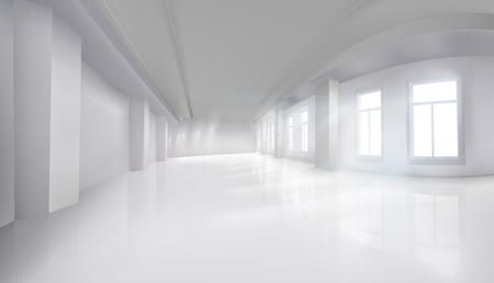 Interieur in een kantoorgebouw. Lege zaal met vensters. Winkelcentrum. Vector illustratie. Vector Illustratie