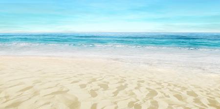 Empty sandy beach. Splashing waves on the seashore. Summer.