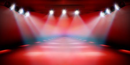 Podium de scène pendant le spectacle. Fond rouge. Défilé de mode. Illustration vectorielle.