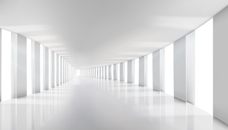 Interior in an commercial building. Empty hall with windows. Long corridor. Vector illustration.