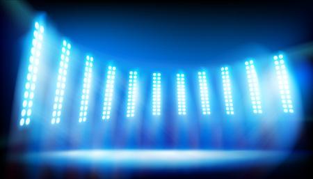 Illuminated stage on the stadium. Blue background. Vector illustration.
