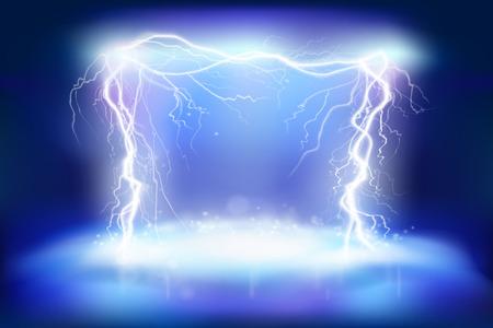 Efekty sceniczne. Energia elektryczna. Oświetlenie ciepła. Ilustracja wektorowa.