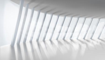 Empty interior. Illuminating sun rays. Vector illustration. Ilustracja