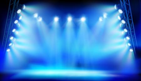 Stage illuminated by the spotlight during the stadium. Vector illustration.