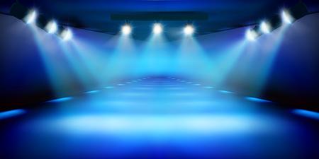 Podio sul palco durante lo spettacolo. Sfondo blu. Pista di moda. Illustrazione vettoriale.
