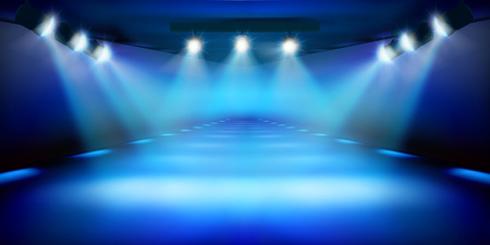 Stage podium during the show. Blue background. Fashion runway. Vector illustration.