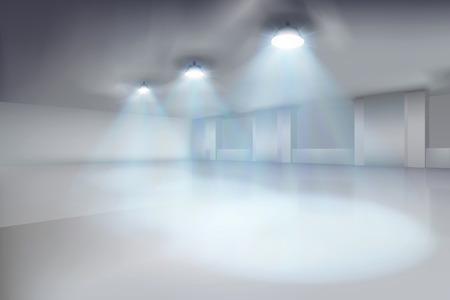 Empty white interior. Warehouse in an old factory. Vector illustration.