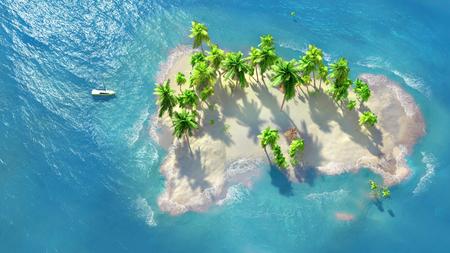 Sandy beach on a tropical island with coconut palms. A small sailboat by the shore. Zdjęcie Seryjne