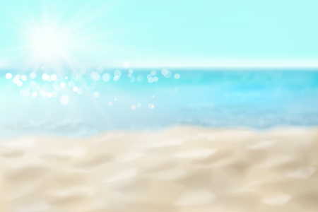 Empty sandy beach. Waves on the seashore. Summer day. Vector illustration.