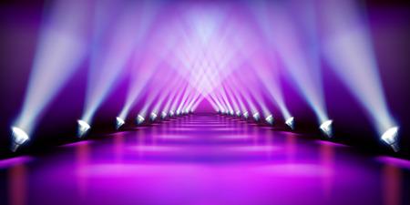 Podio sul palco durante lo spettacolo. Tappeto viola. Pista di moda. Illustrazione vettoriale.