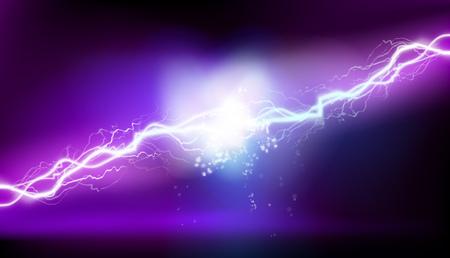 Heat lighting. Electrical energy. Purple background. Vector illustration. Ilustración de vector
