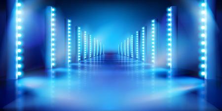 Leere Bühne vor der Show. Laufsteg für Mode. Blauer Hintergrund. Vektor-Illustration.