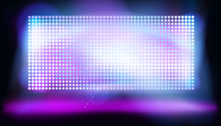 Big led projection screen on the stage. Glowing dots, display pixels. Vector illustration.