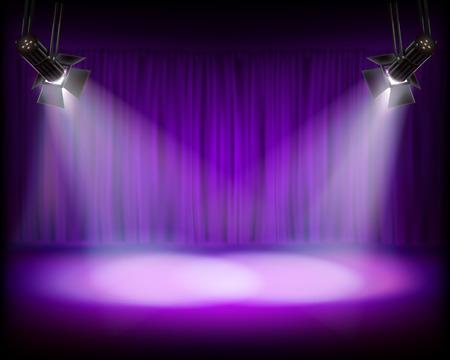Palcoscenico illuminato vuoto. Auditorium del teatro con il sipario. Sfondo viola. Illustrazione vettoriale.