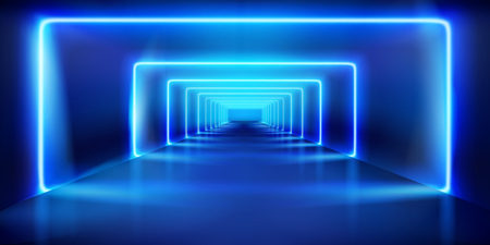 Blue neon lights. Empty stage before the show. Fashion runway. Vector illustration.