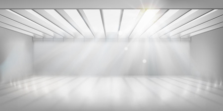 Interior in commercial building with glass roof. Empty space for the exhibition. Vector illustration. Stock Illustratie