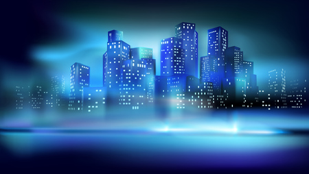 View of the city center at night. Illuminated skyscrapers. Vector illustration.