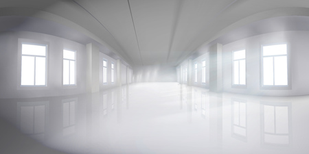 Interior in commercial building. Empty hall with windows. Shopping center. Vector illustration.