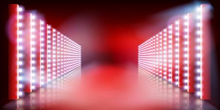 Spettacolo di luci sul palco. Tappeto rosso. Pista di moda. Illustrazione vettoriale. Vettoriali