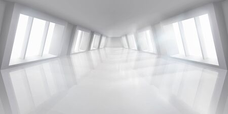Big hall with windows. Empty lit interior. White room. Vector illustration.