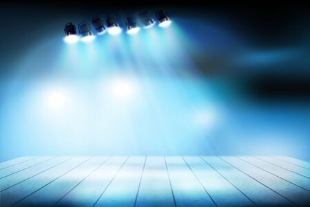 Theatrical performance. Stage during the show. Vector illustration.