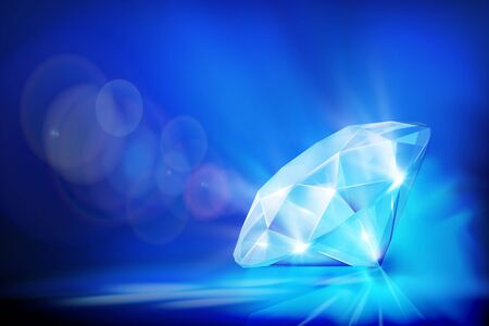 Large cut diamond with reflections on dark blue background. Vector illustration.