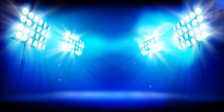 Spotlights at the sports stadium. Large illuminated stage. Vector illustration. Ilustracja