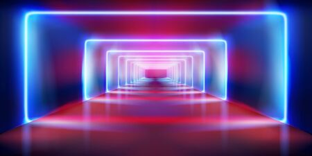 Empty stage before the show. Colored neon lights. Fashion runway. Vector illustration. Ilustracja