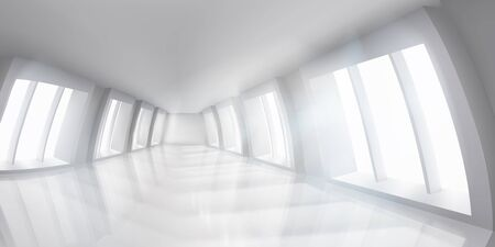Public building. White empty interior. Long hall Vector illustration.