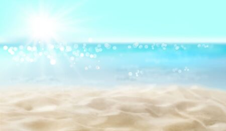 Empty sandy beach. Summer day. Waves on the seashore. Vector illustration.