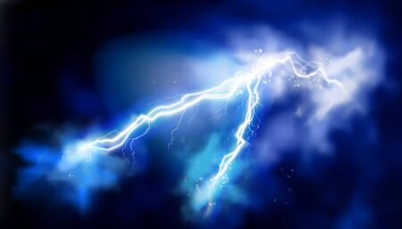 Electric storm. Light effects. Electrical energy. Vector illustration. Ilustracja