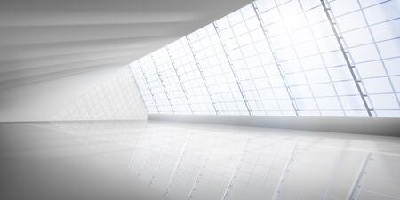 Empty interior with large windows. Empty modern office room. Illuminating sun rays. Vector illustration. Ilustracja