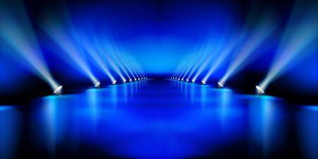 Podio sul palco durante lo spettacolo. Pista di moda. Sfondo blu. Illustrazione vettoriale.