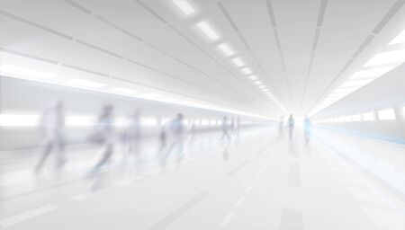 People walking down the shopping gallery corridor. Blurred background. Underground passage. Vector illustration.