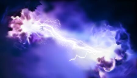 Electric storm. Clouds. Light effects. Electrical energy. Vector illustration.
