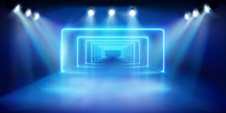 Light show on stage. Blue background. Fashion runway. Vector illustration.