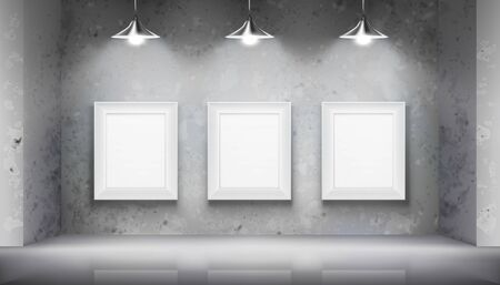 Hanging empty frames in art gallery. Empty space for exhibition. Vector illustration. Illustration