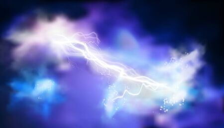 Electrical energy. Thunderstorm at night. Clouds. Light effects. Vector illustration.