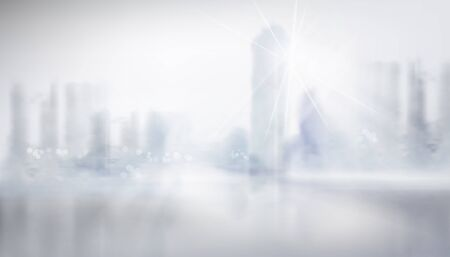 Panoramic view of the city. High skyscrapers. Blurred background. Cityscape. Vector illustration.