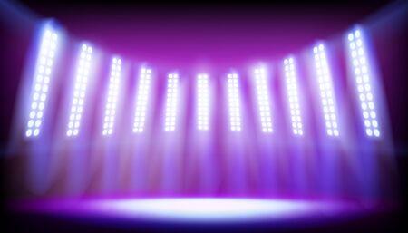 Palco dello stadio illuminato da faretti. Posto vuoto per esposizione. Illustrazione vettoriale. Vettoriali