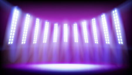 Stage on the stadium illuminated by spotlights. Empty place for exposition. Vector illustration.