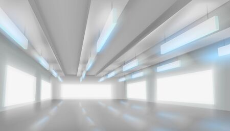 Large shopping gallery. Empty hall for the exhibition. White background. Vector illustration. Zdjęcie Seryjne - 130023682