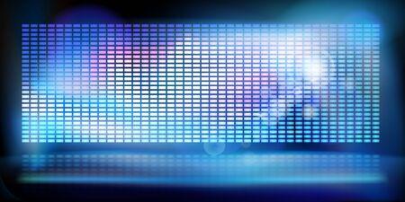 Gran pantalla de proyección led. Mostrar en el escenario. Fondo de tecnología abstracta. Ilustración de vector.