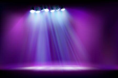 Palco vuoto prima dello spettacolo. Faretti su sfondo viola. Illustrazione vettoriale.