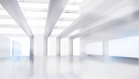 Large shopping mall, gallery. Empty hall for the expo. White background. Vector illustration. Ilustracja