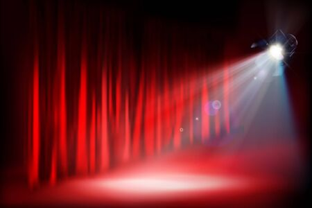 Stage podium during the show. Red curtain. Theater auditorium. Vector illustration.  イラスト・ベクター素材